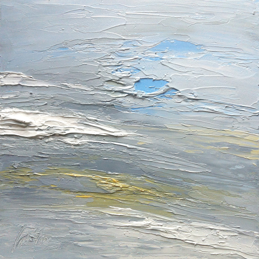 At The Horizon Study 2-20-12, oil on board, 8 8 inches, 2012 - $800