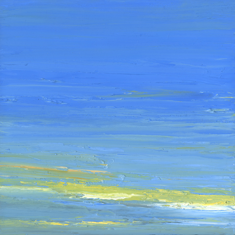 At The Horizon - yellow sky, oil on board. 12 by 12 inches, 2012 - $2000