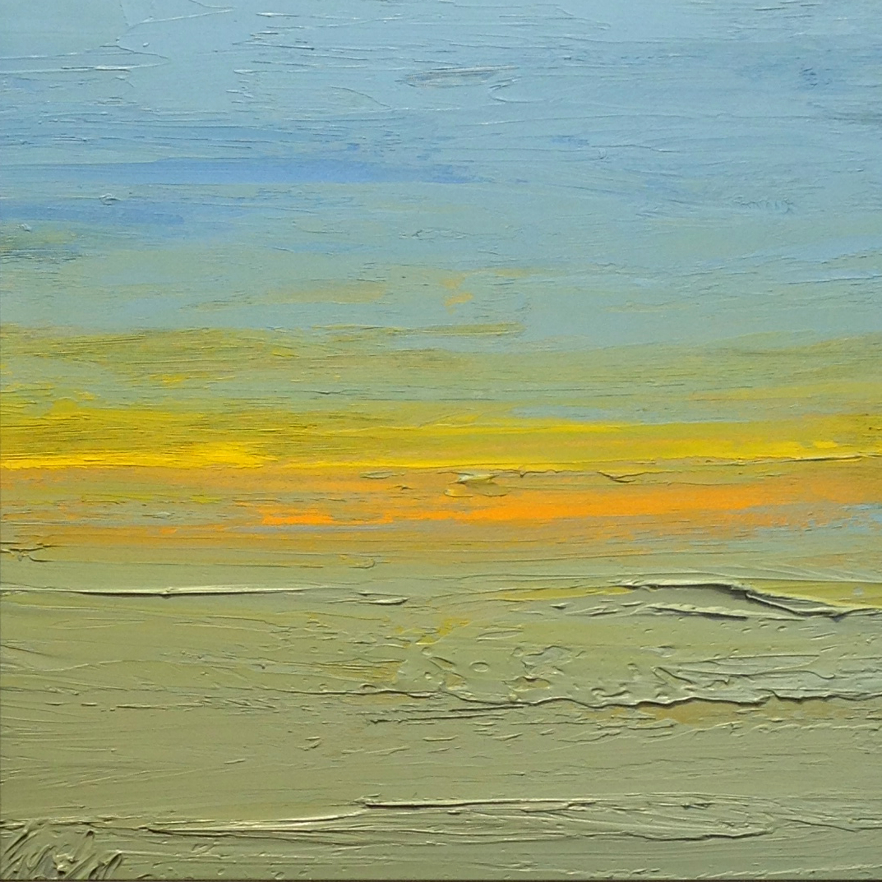 At The Horizon Study 3-9-2014, oil on board, 8 by 8 inches, 2014 - $750