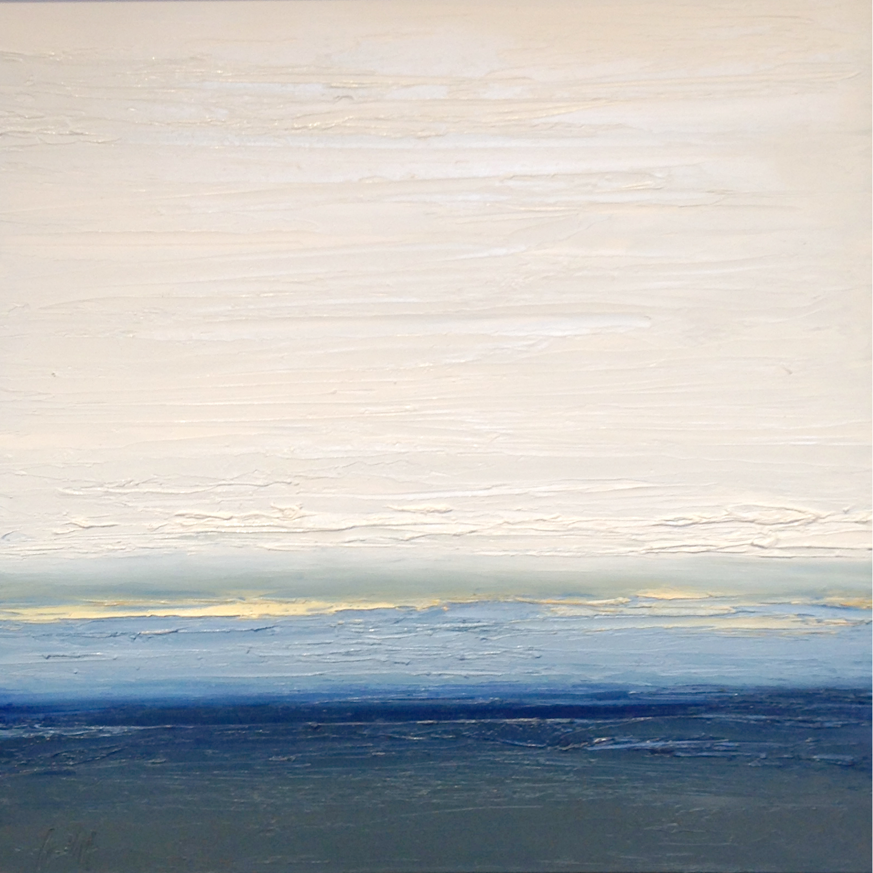 At The Horizon 3-21-2014, oil on board, 16 by 16 inches, 2014 - $1500 (sold)