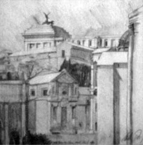 Ancient Rome View, Rome, Italy, graphite on paper, 16 by 20 inches, 1993.jpg