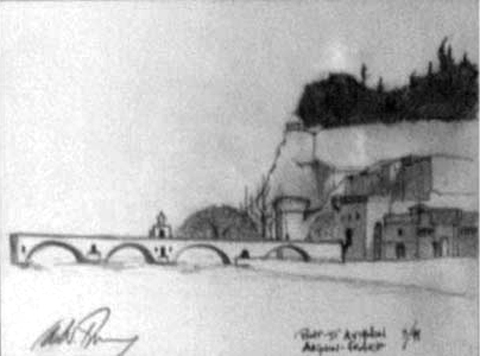 Pont d' Avignon France, graphite on paper, 7 by 10 inches, 1998.jpg