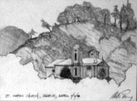 St. Mark's Church, Salzburg, Austria, graphite on paper, 7 by 10 inches, 1998.jpg