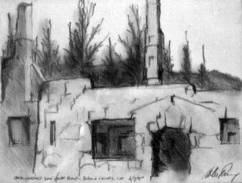 Jack London House Ruins, Sonoma County, CA, graphite on paper, 1994.jpg