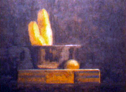 Cigar Box and Bananas, oil on board, 11 by 14 inches, 1996.jpg