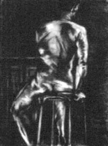 Twising Torso Nude. charcoal on paper. 18x24-inches. 1987.jpg