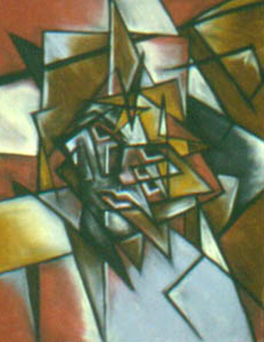 Cubist Self Portrait, pastel on paper, 18 by 24 inches, 1983.jpg