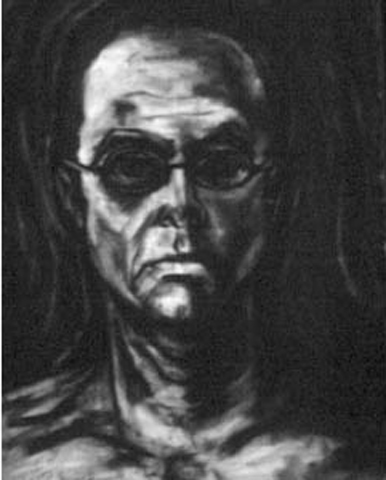 Torney. Grad School Self-Portrait. oil stick on gessoed paper. 22x30-inches. 1988.jpg