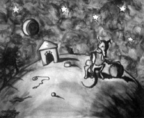 Dog Thoughts, graphite wash on paper, 16 by 20 inches, 1995.jpg