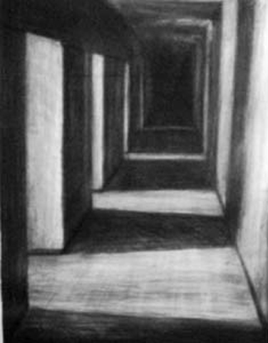 Torney. Interior Hallway. charcoal on paper. 24x36-inches. 1989.jpg