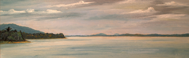 Looking to North Isleborough Island, oil on board, 10 by 24 inches, 2004 - $1500 (sold)