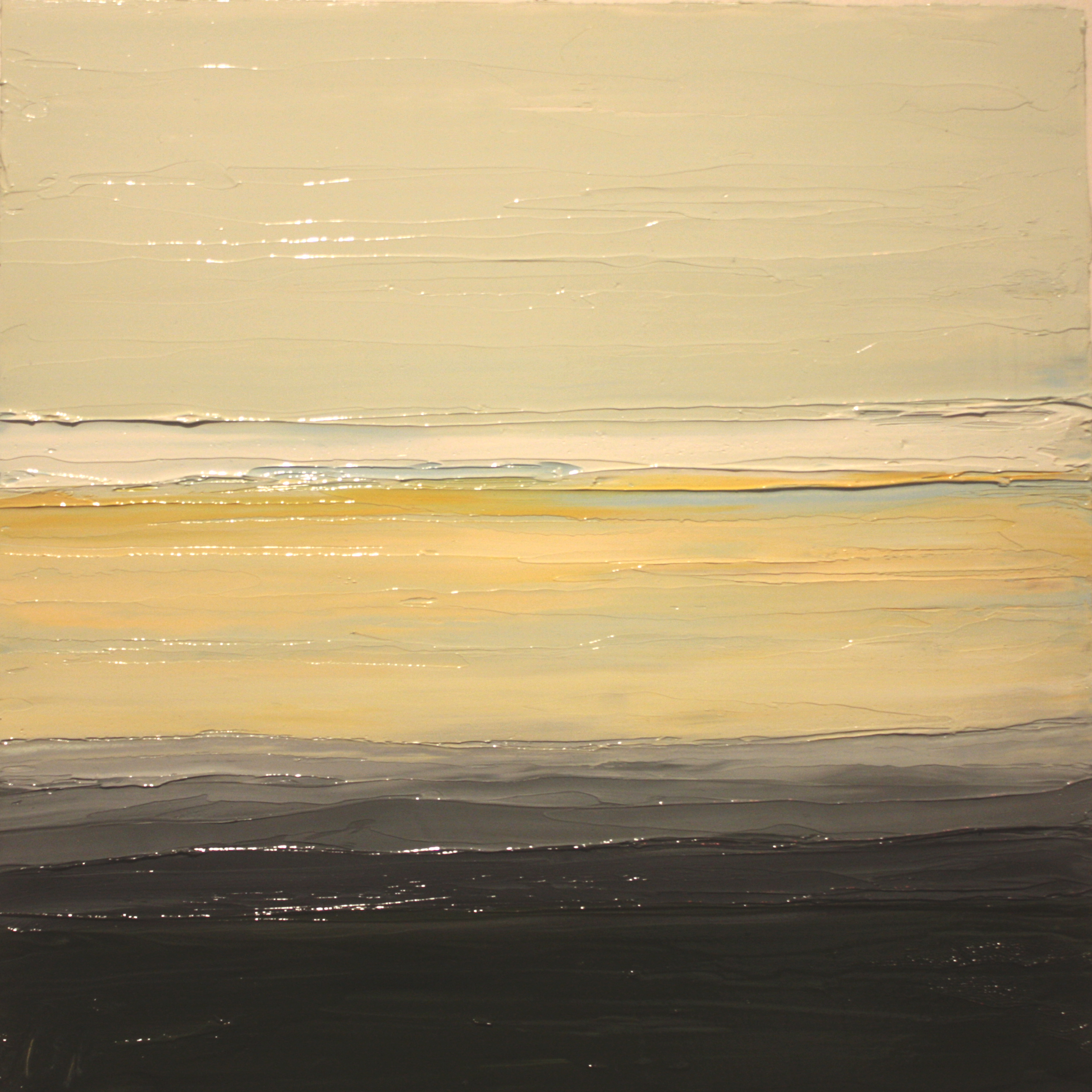 At The Horizon - Yellow Sky, oil on board, 12 by 12 inches, 2012 - $2500