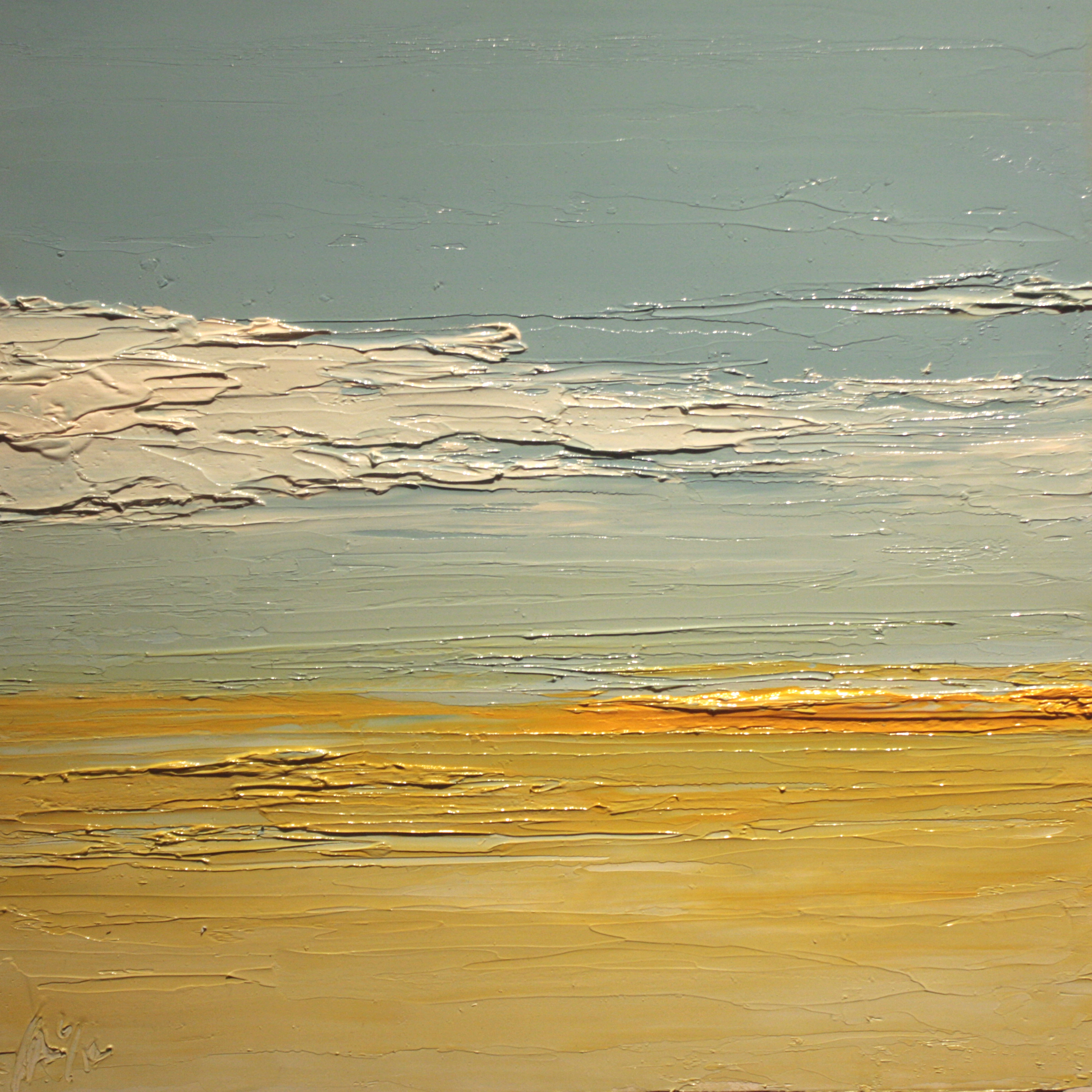 At The Horizon - Orange Stripe Sky, oil on board, 12 by 12 inches, $1500 (sold)