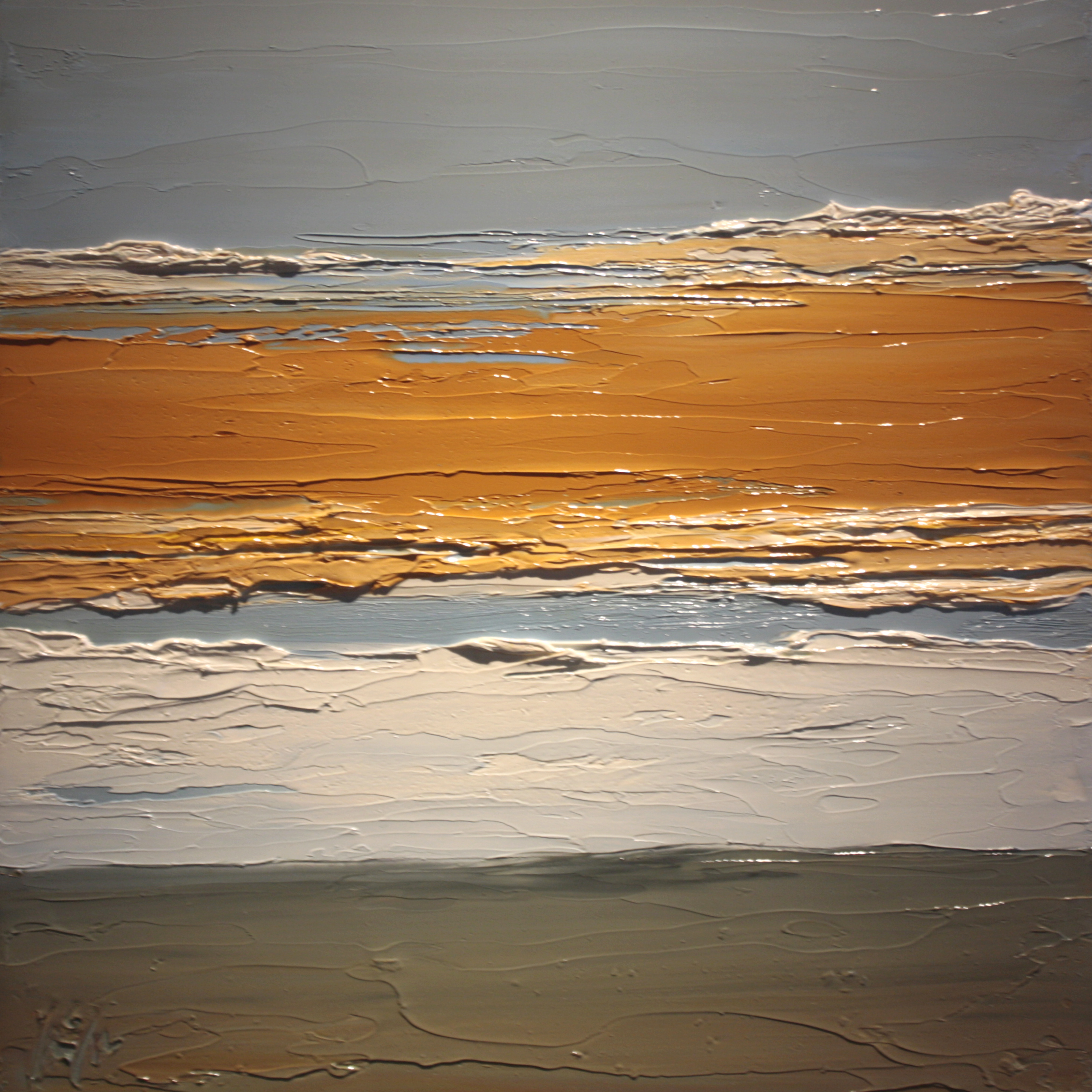 At The Horizon - Orange Sky, oil on board, 12 by 12 inches, 2012 - $2500