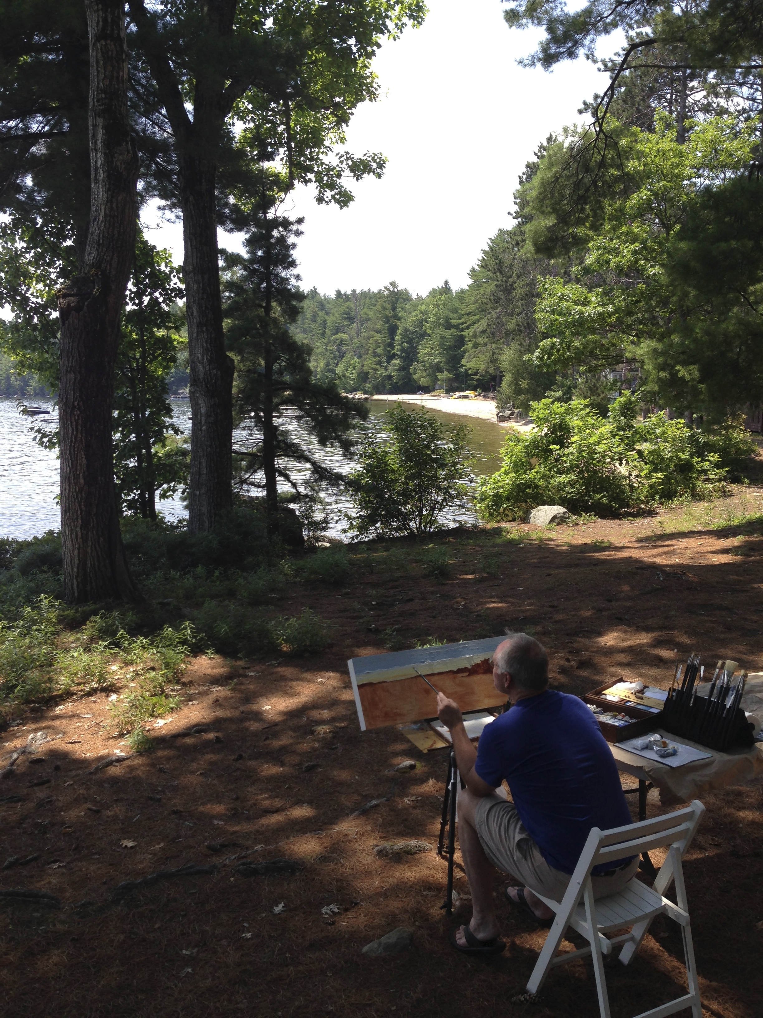 Painting the landscape plein-air, Sebago Lake, Maine, July 2013 - Visiting Artist commission for Camp O-AT-KA.