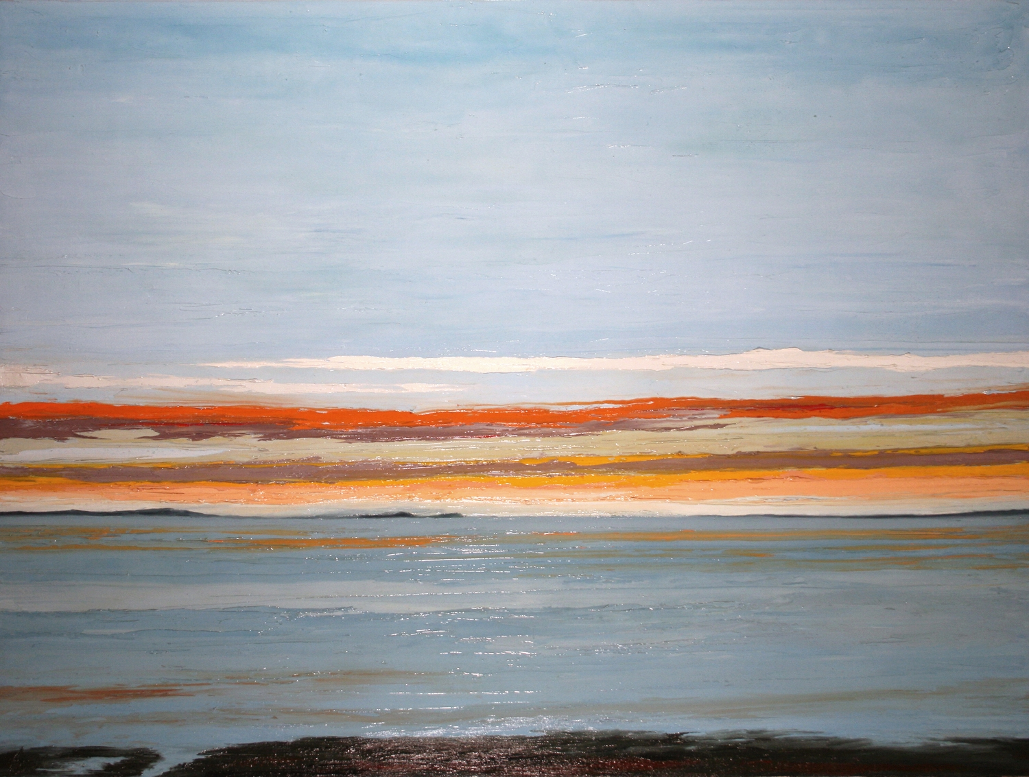 Cuhna View, Plymouth, MA, oil on canvas, 36 by 48 inches, 2014