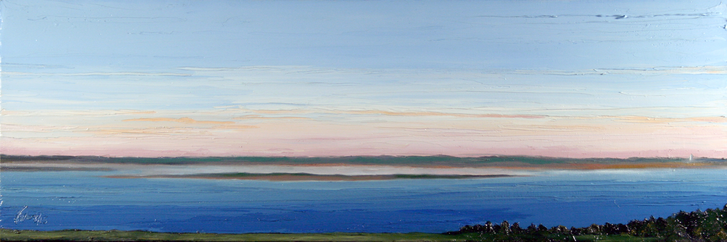 Donahue View - Barnstable MA to Chatham Light, oil on canvas, 12 by 36 inches, 2015