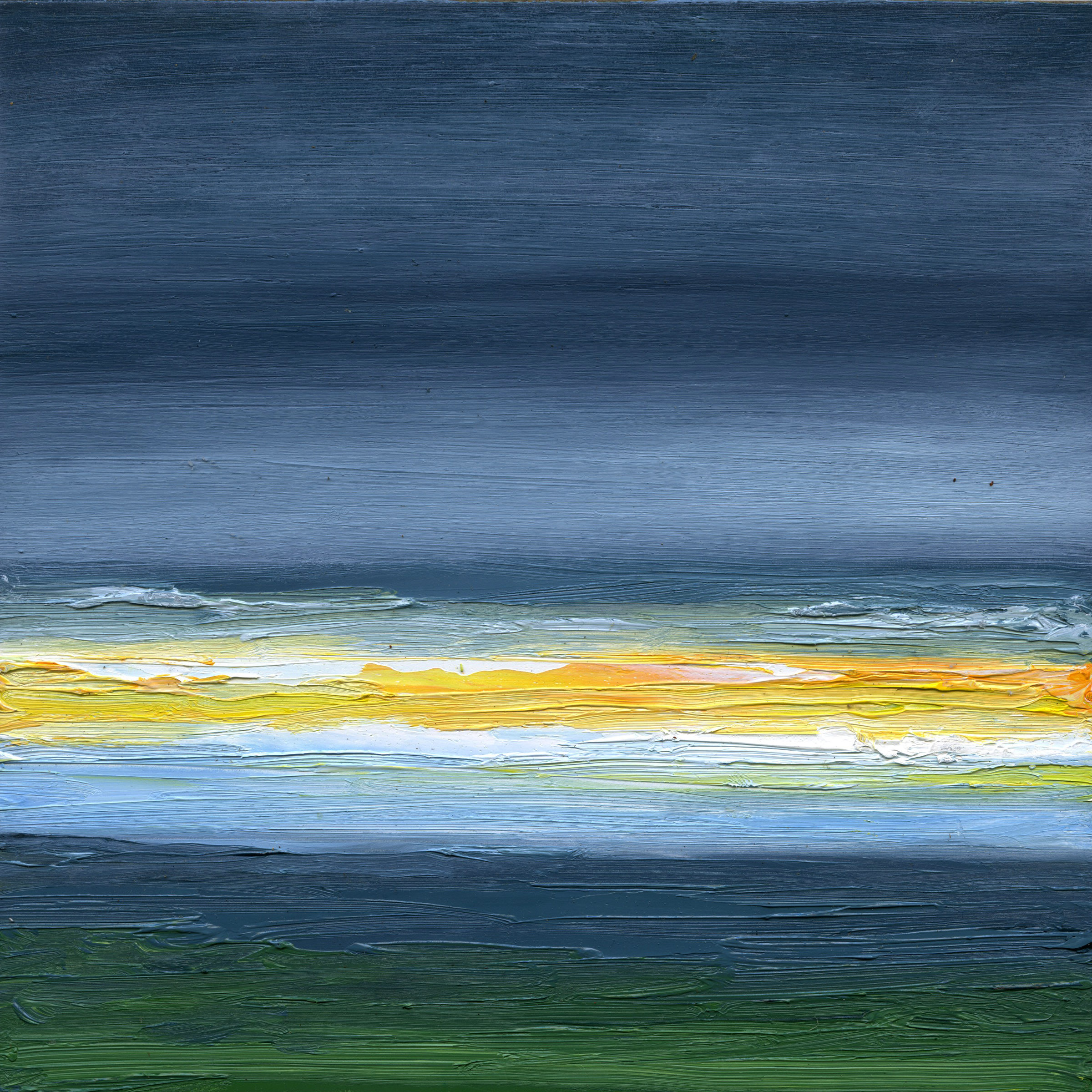 At The Horizon - Jack's View Cape Cod Study, oil on board, 8 by 8 inches, 2015, $750