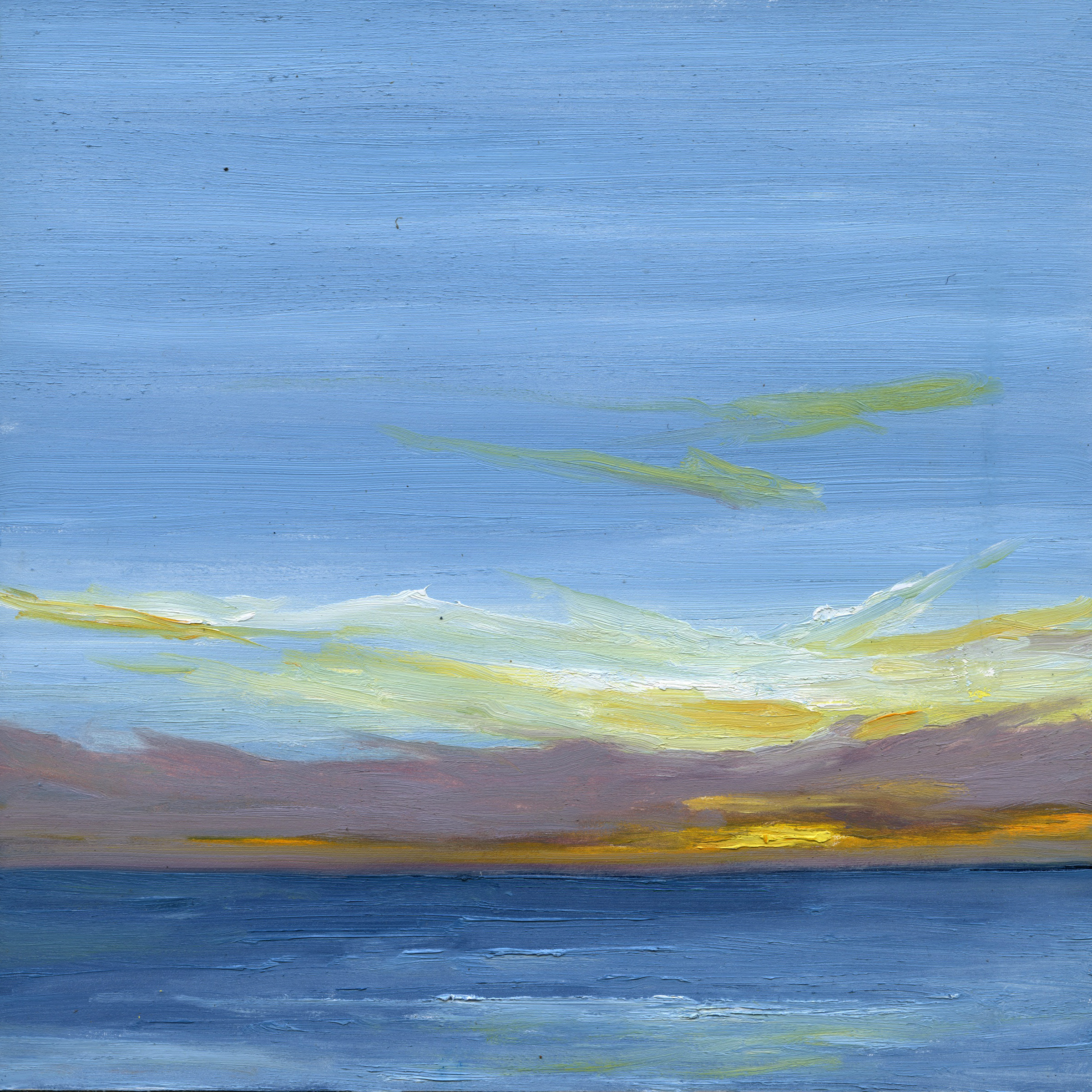 At The Horizon - Wellfleet Looking To Provincetown, oil on board, 8 by 8 inches, 2015, $1000