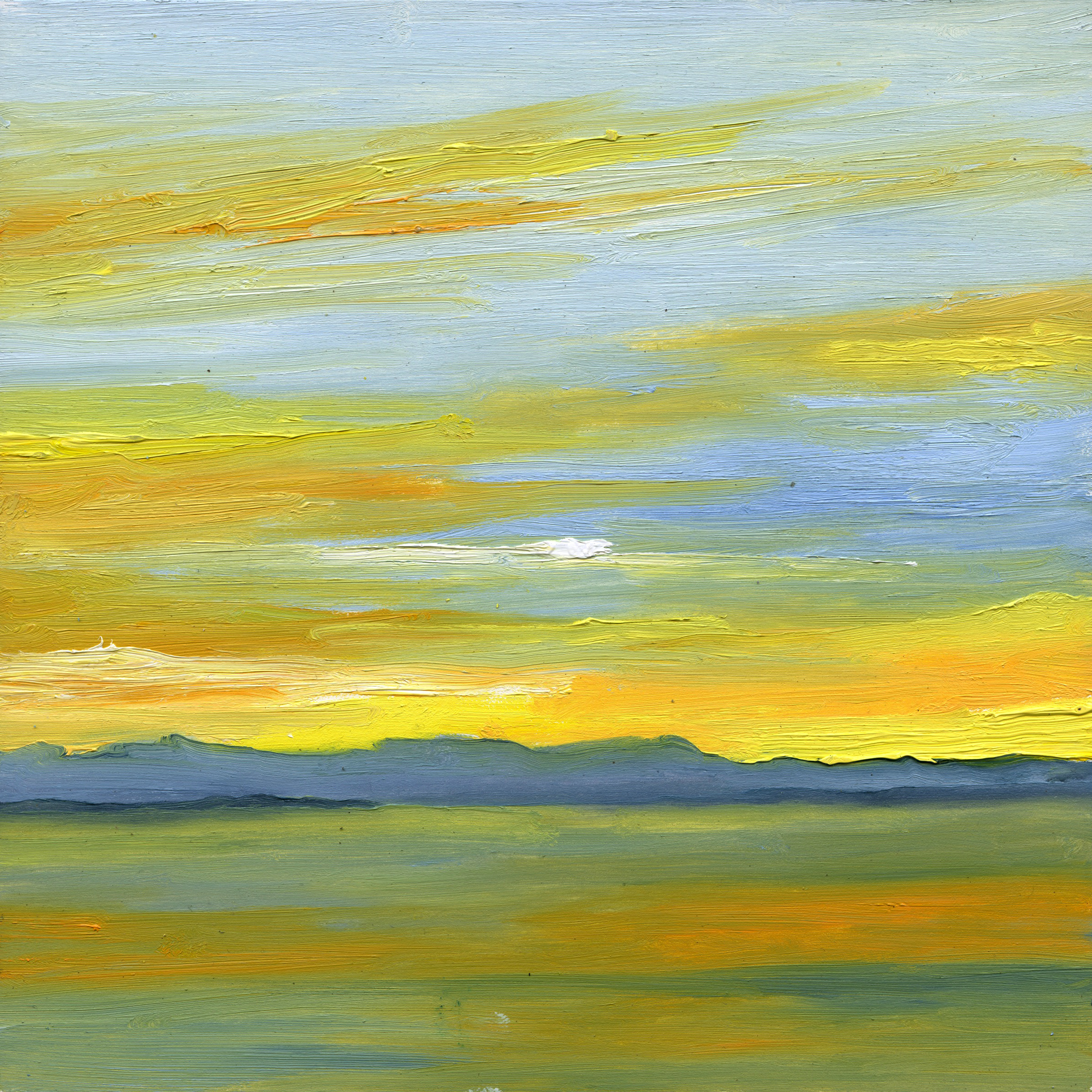 At The Horizon - Puget Sound From Burien WA, oil on board, 8 by 8 inches, 2015, $1000