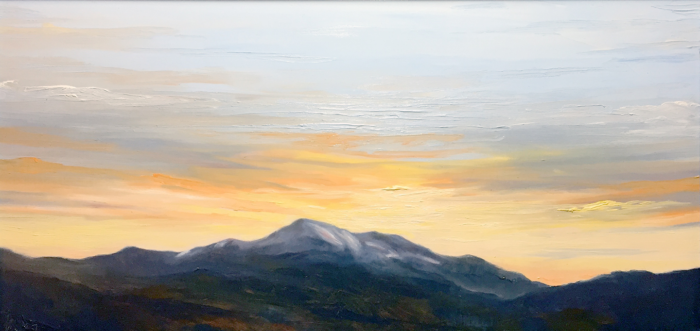 Mt. Washington from the Iron Mountain Trailhead, oil on board, 20 by 10 inches, July 2016, $1500