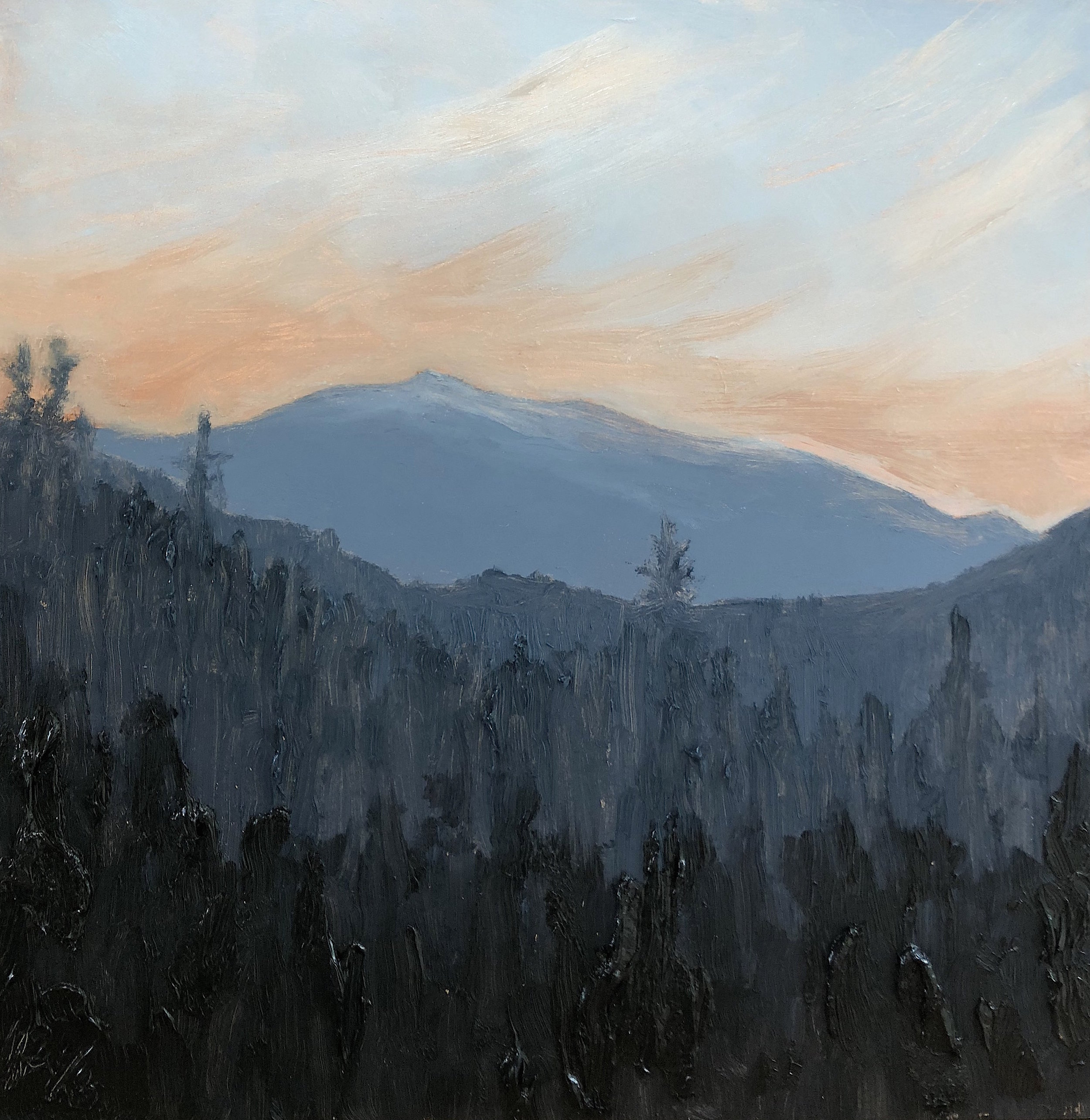 Mt. Washington Summer Solstice Sunset 2018, from the 36 Views of Mt. Washington series, oil on board, 12 by 12 inches, 2018, $1000