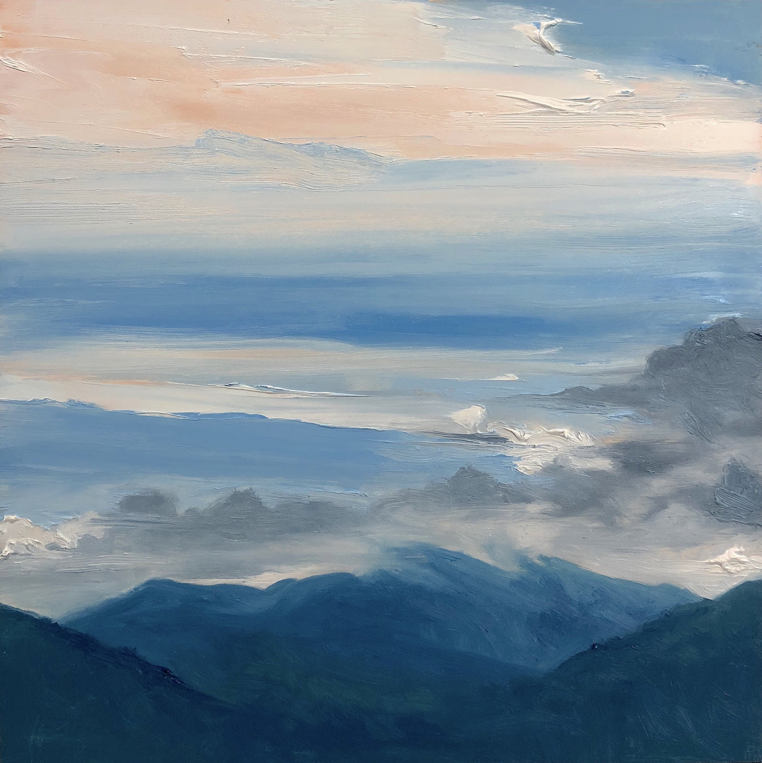 Mt. Washington 7-12-2018, from the 36 Views of Mt. Washington series, oil on board, 12 by 12 inches, 2018, $1000