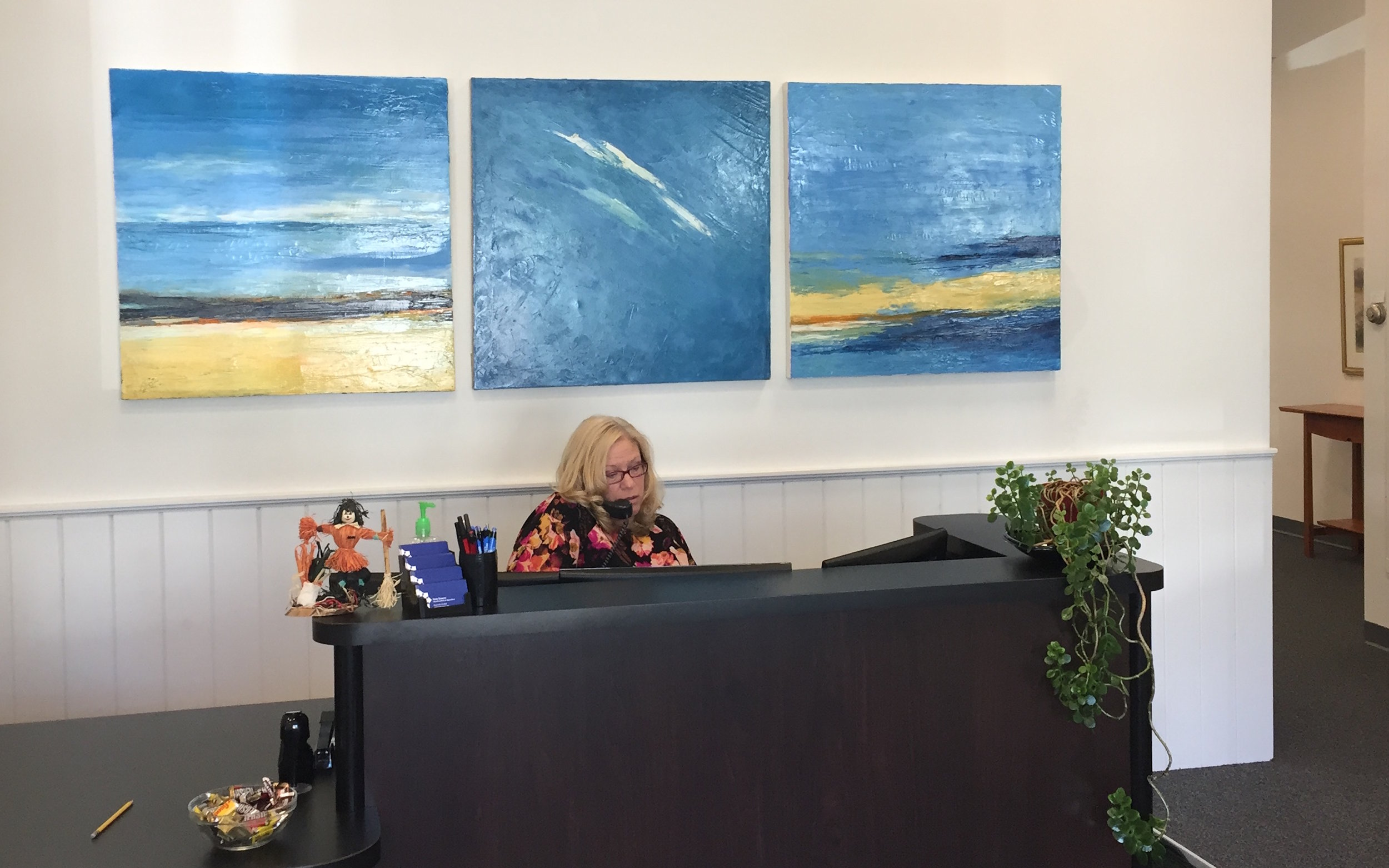 Torney - Blue Sky Triptych installation view at M&M Insurance.JPG