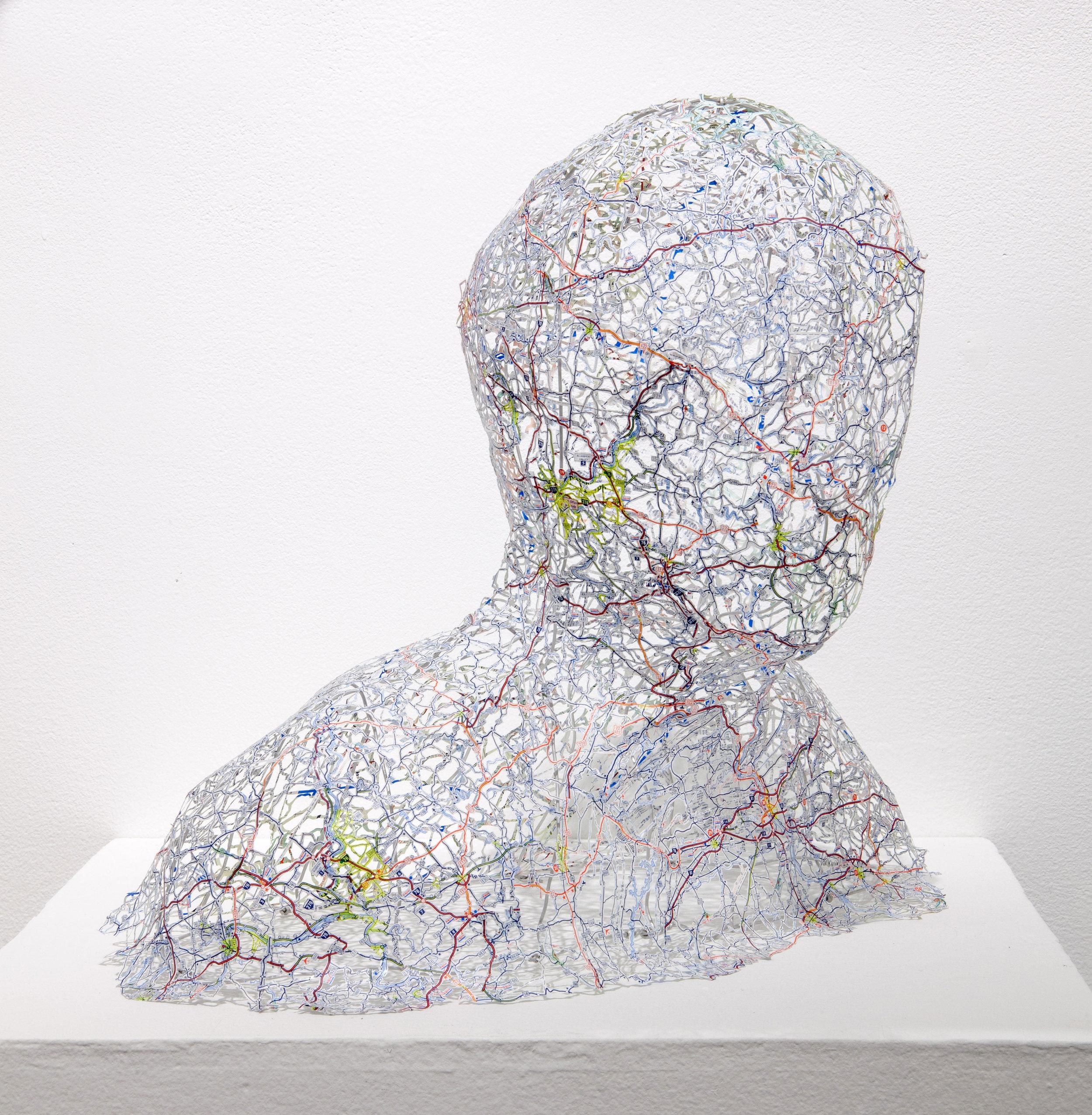"""Untitled (Self-Portrait) , 16X16X14"""", Hand-cut road map, 2013"""
