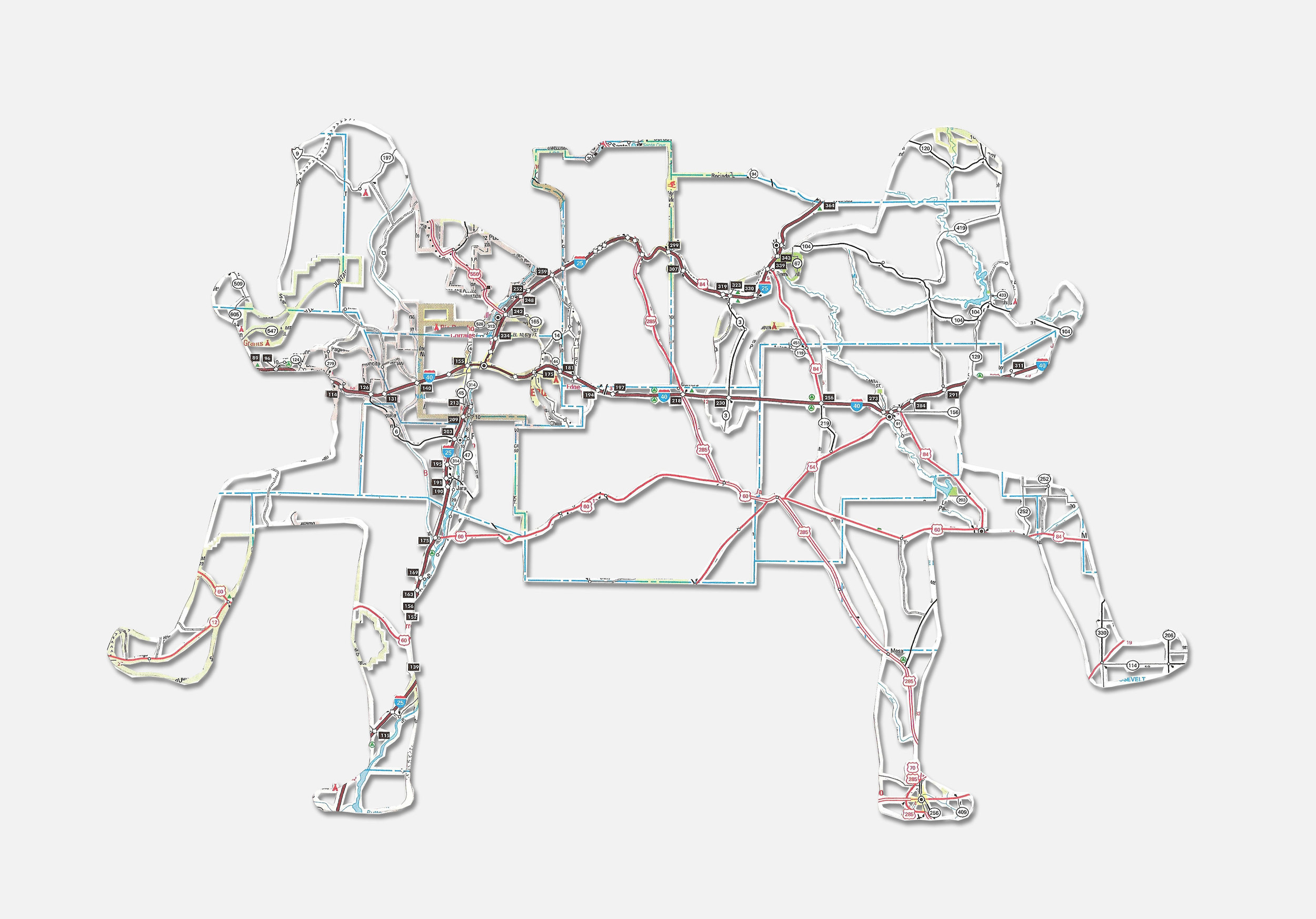 "Untitled (Connections) , 10X8"", Hand-cut road map, 2012"
