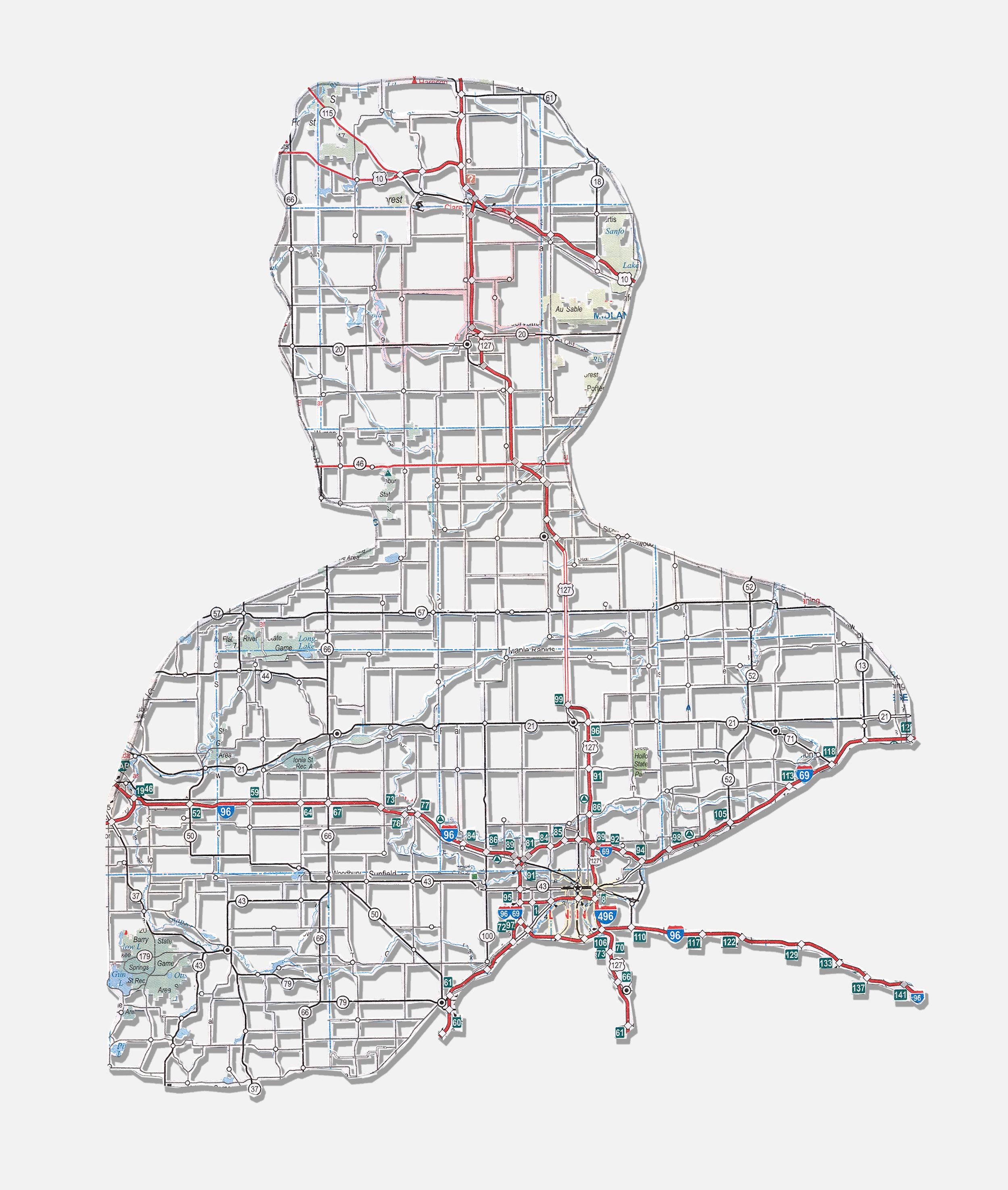 """Danny: Mt. Pleasant, MI , 10X8"""", Hand-cut road map, 2009"""