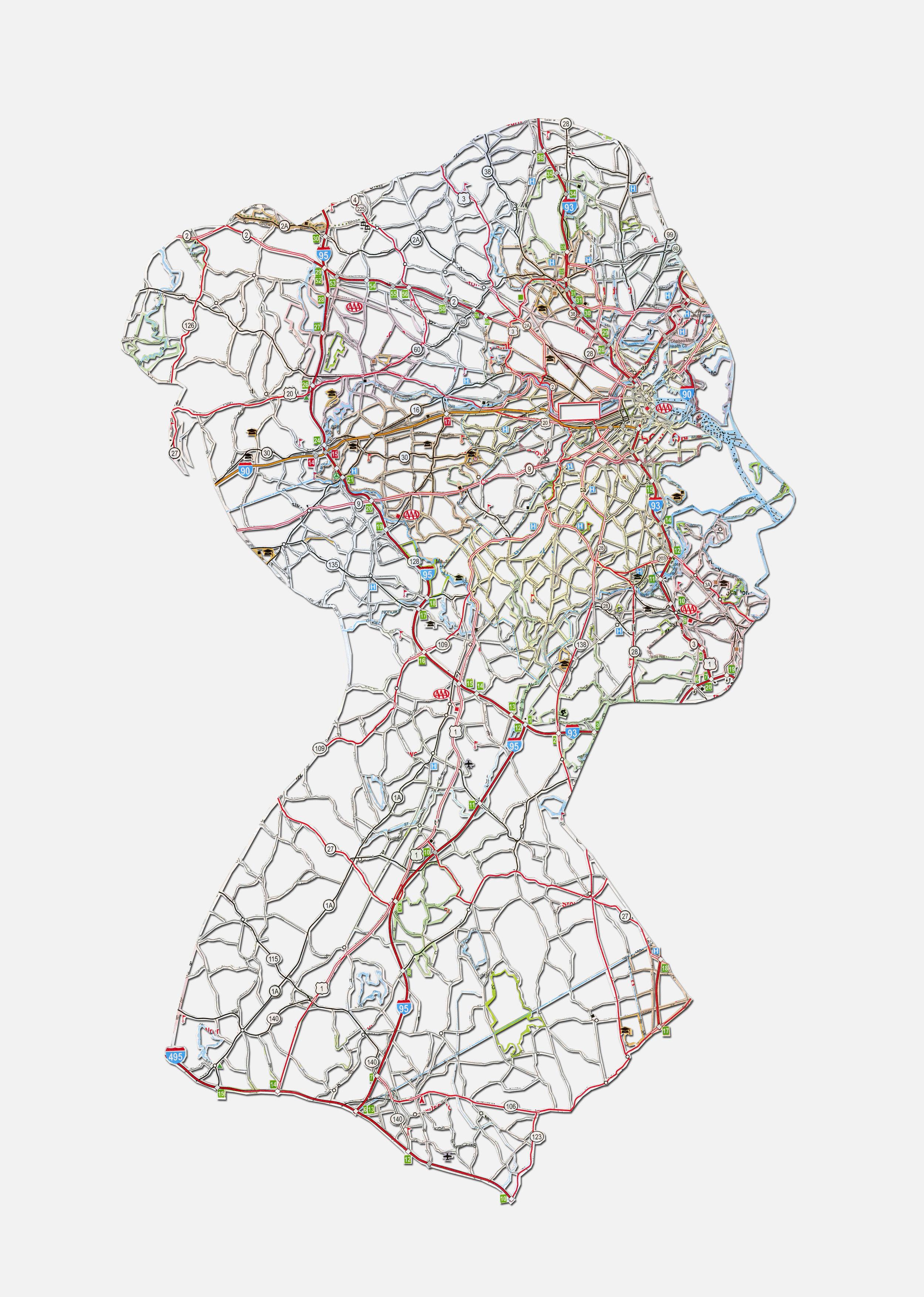 """Kim: Boston, MA , 20X16"""", Hand-cut road map, 2013"""