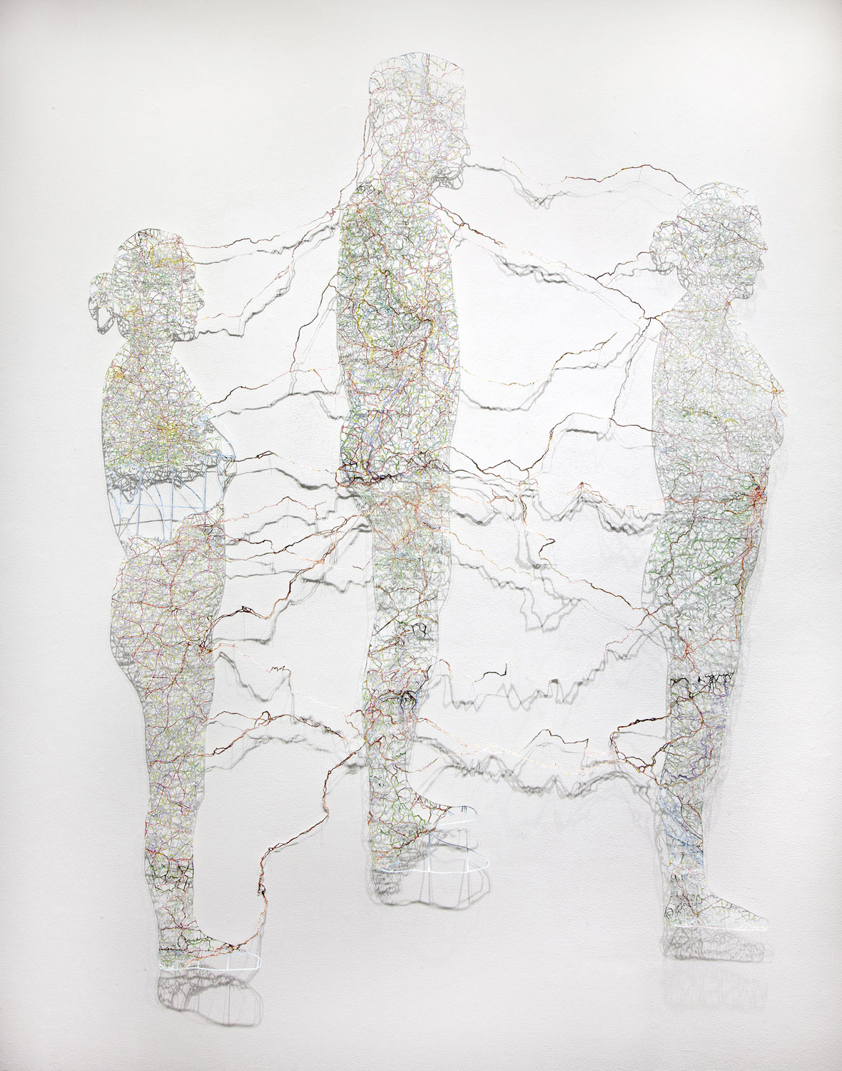 "Untitled (Connections) , 78X66"", Hand-cut road map, 2013"
