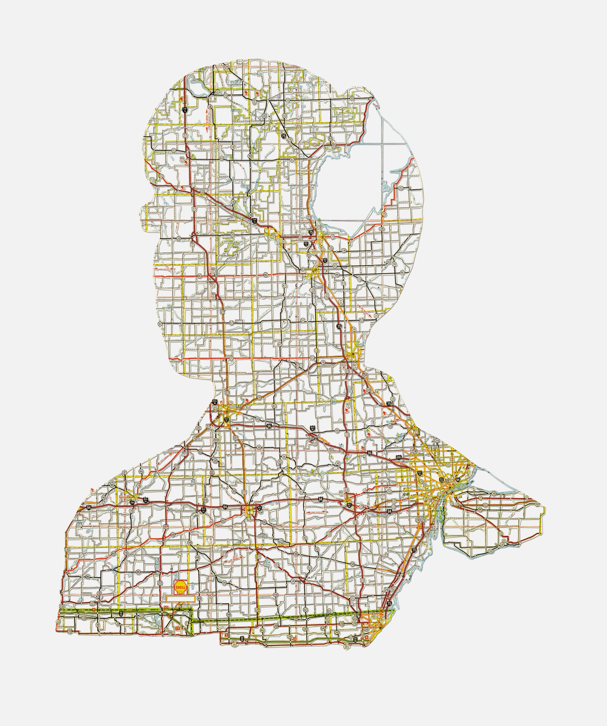 """Tim: Detroit, MI , 20X16"""", Hand-cut road map, 2013"""