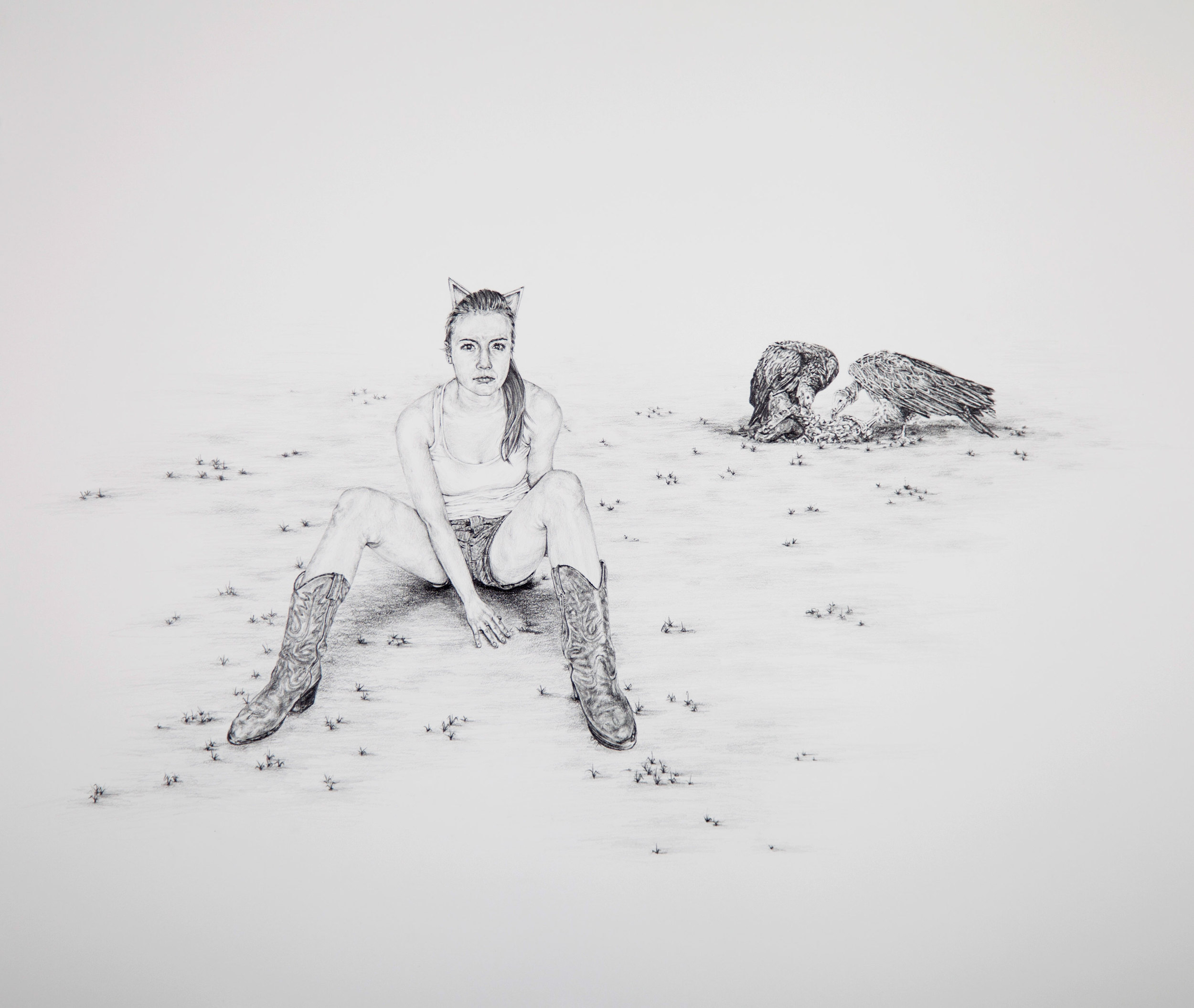 "Feasting,  22""X26"", Graphite on paper, 2013"