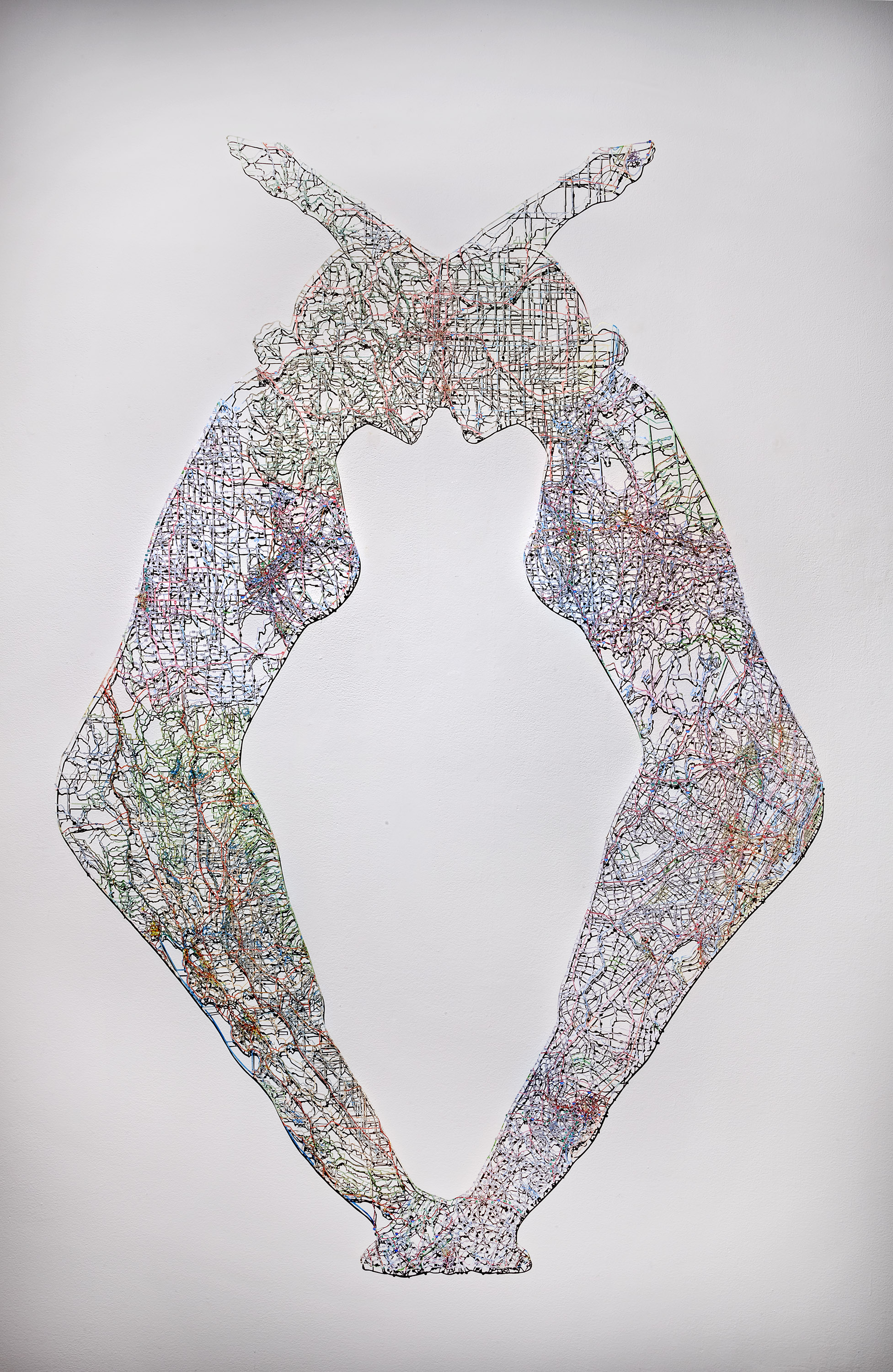 "Untitled (Merged) I,  64X48"", Hand-cut road map, 2014"
