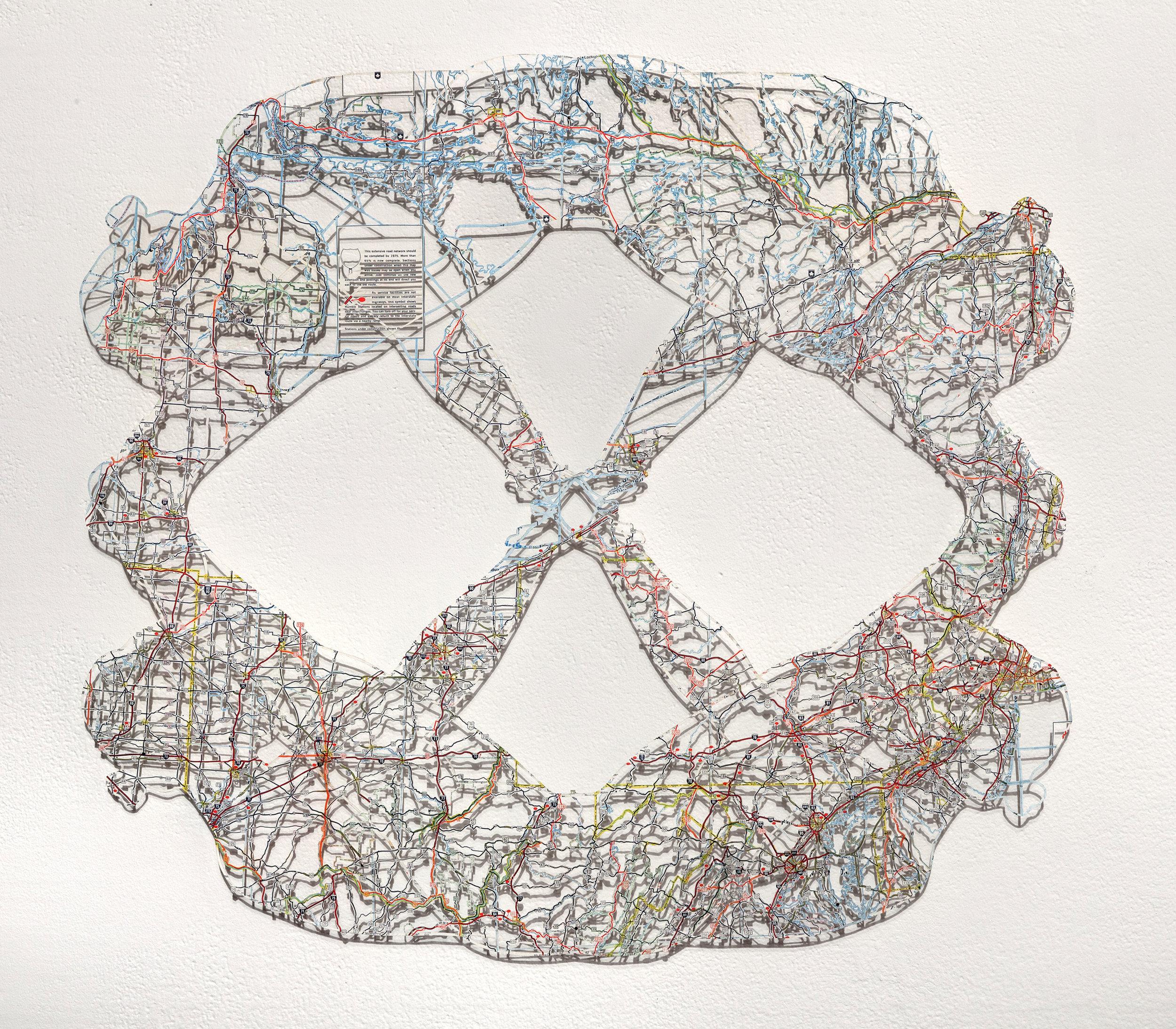 Untitled (Object II), 19x21 in, hand-cut road map, 2017