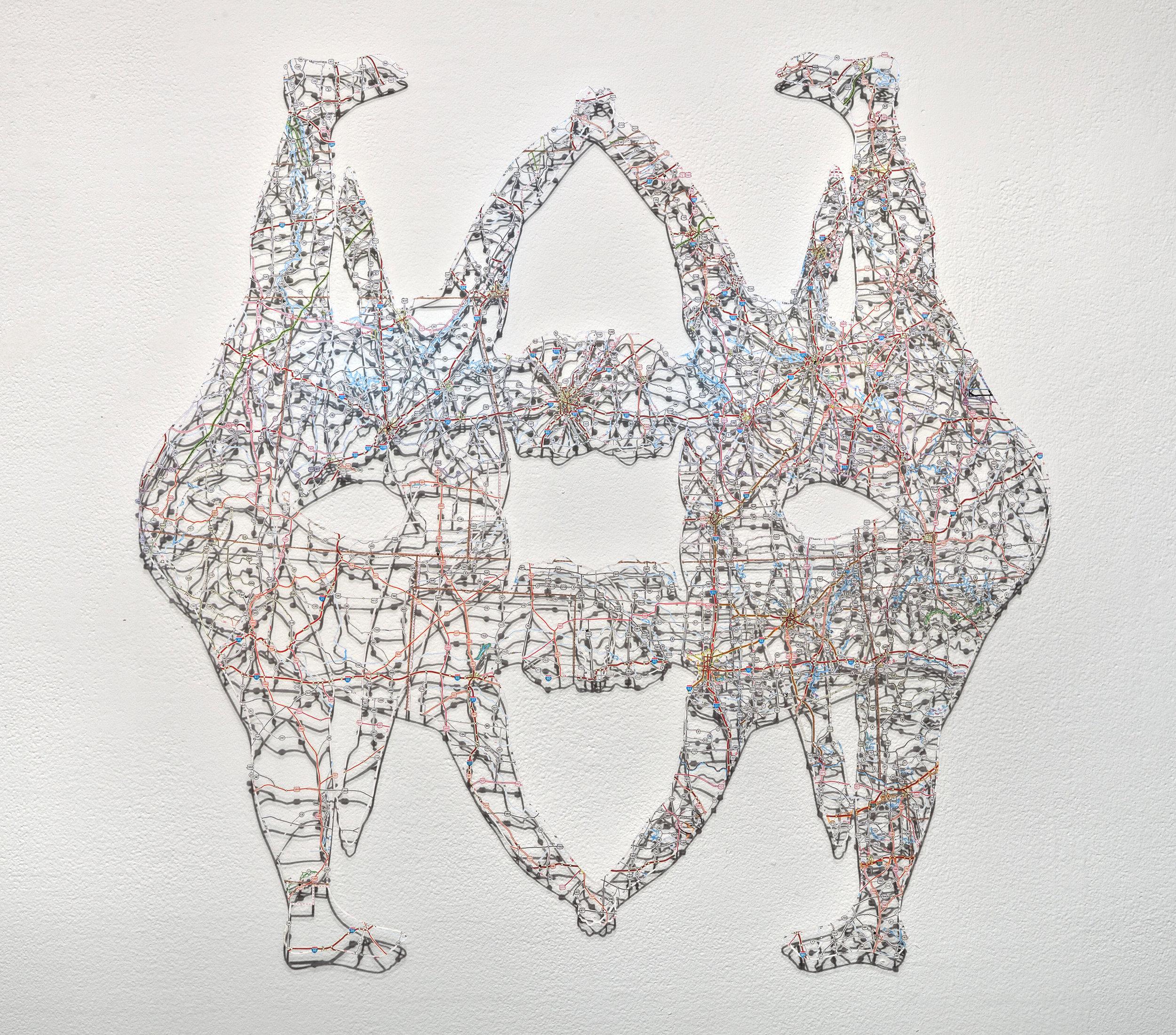 Untitled (Object IX) , 24x24 in, hand-cut road map, 2017