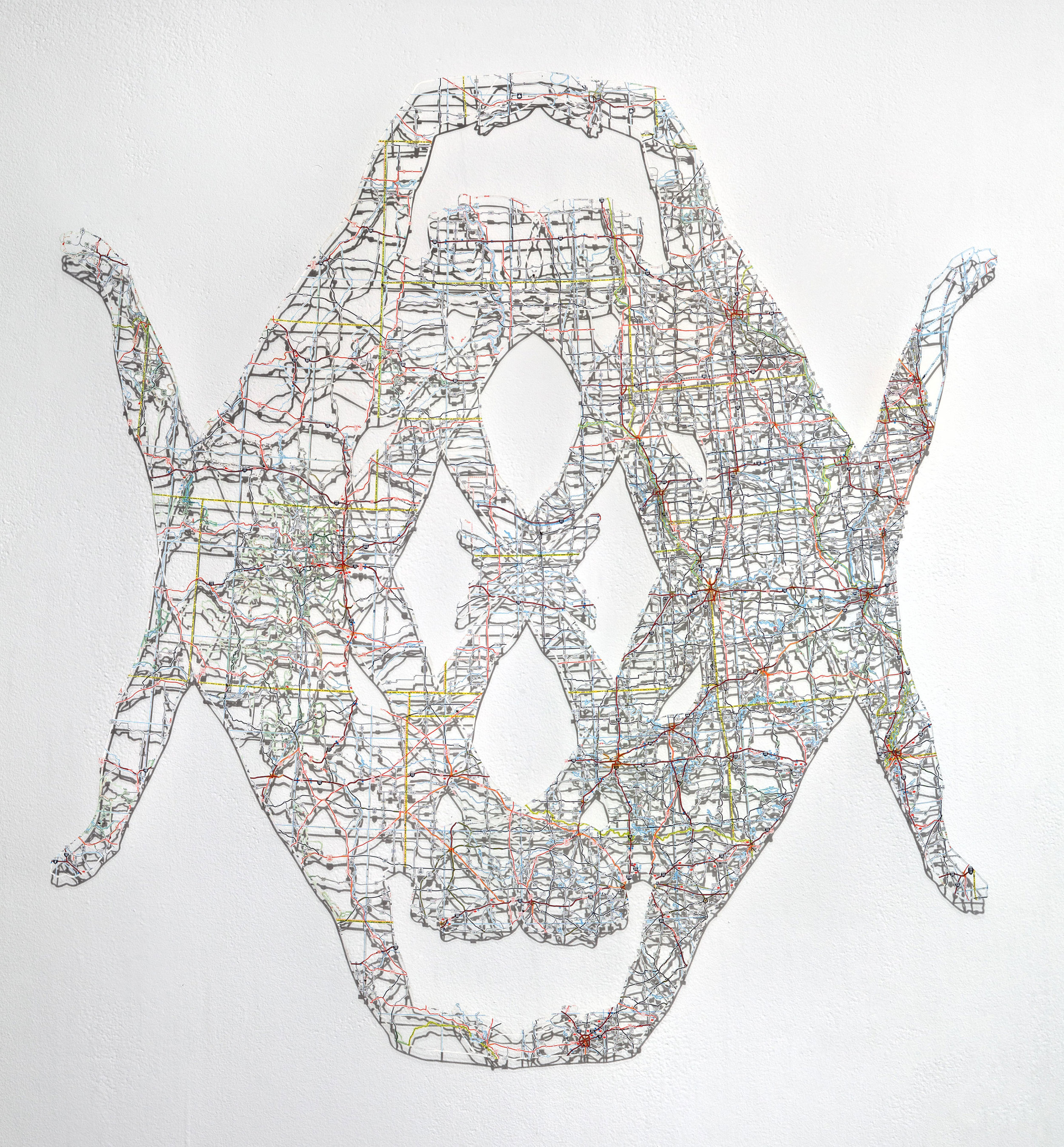 Untitled (Object X) , 26x24.5 in, hand-cut road map, 2017