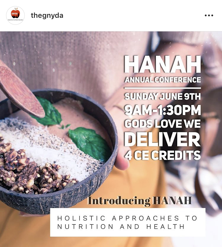 Save the date! Anastasia will be presenting on yoga and the treatment of eating disorders at the Holistic Approaches to Nutrition and Health (HANAH) conference on June 9
