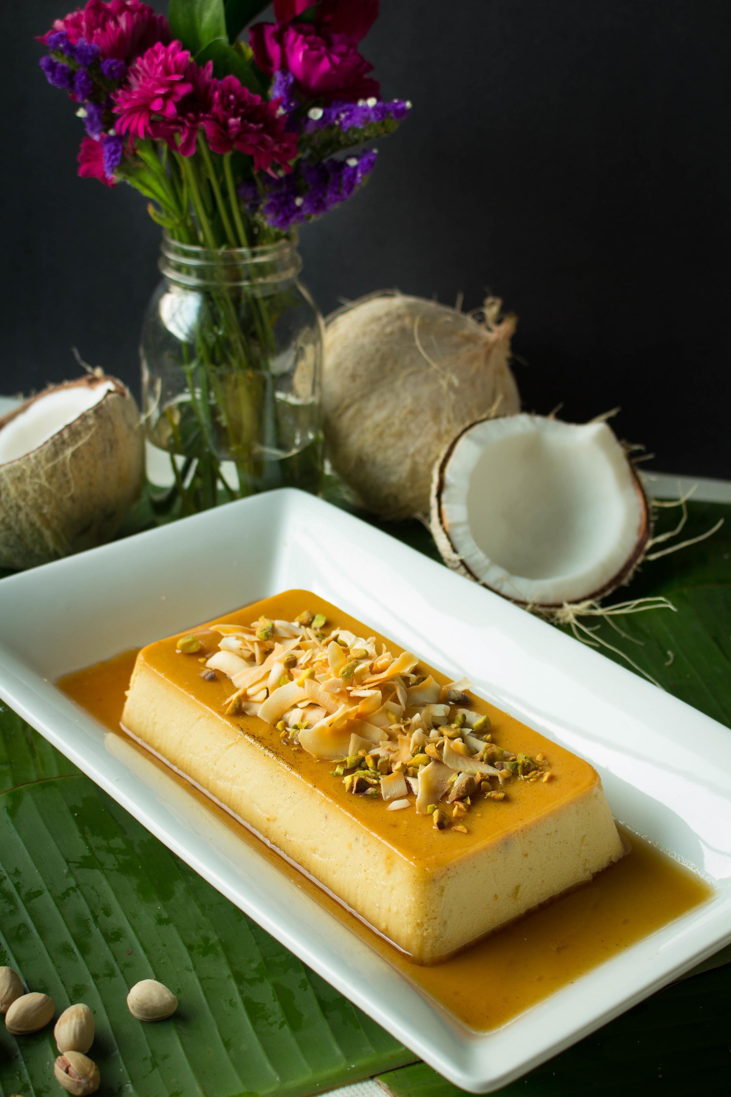 Pistachio Coconut Flan