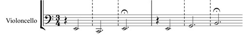 excerpt of cello part from the draft of Jessie Downs' Untitled piece