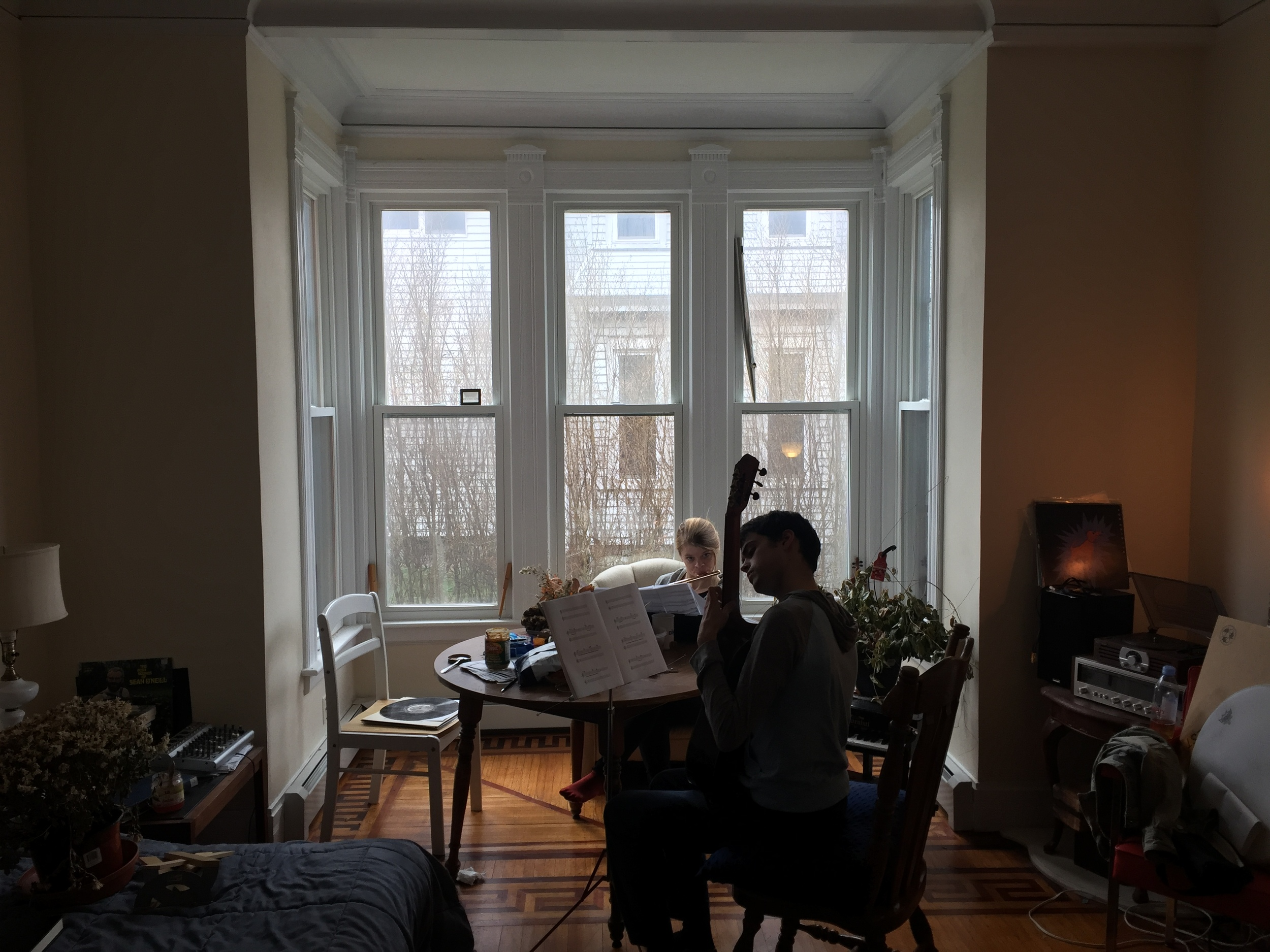 Kevin Dee and Laura Cocks rehearsing 'Guitar and Flute' in Middletown, CT April 1st 2016