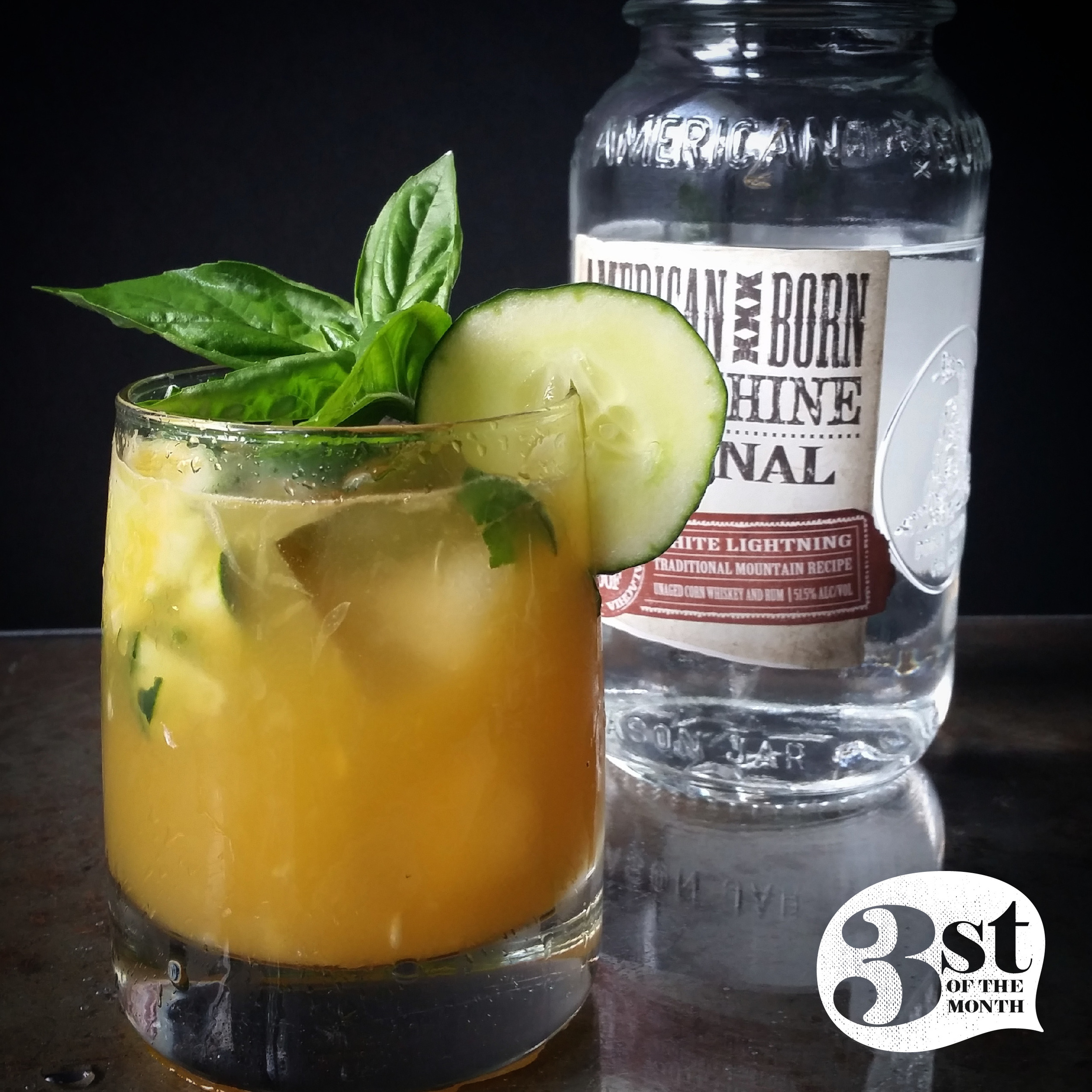 The Farmer John moonshine cocktail from 3st   Made with fresh carrot juice, cucumber basil and mint syrup