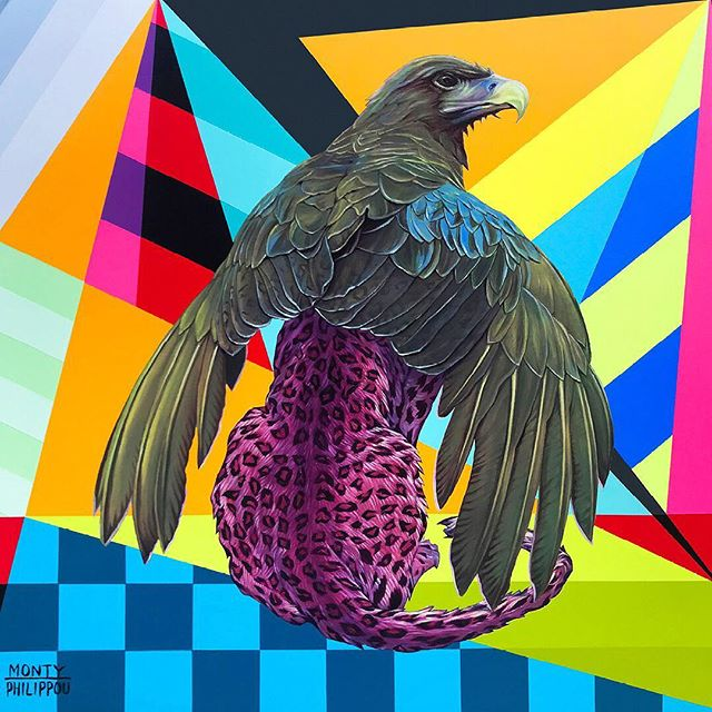Sunset Griffin |  14 IN. X 14 IN. X 1.25 IN., Oil and Aerosol on Wood Panel. 1-4 Paintings in tonight's opening reception of CH.2 Gallery Selections @sparksgallery in San Diego. . . . @kaleidoskullart @montymontgomery @montanacans_usa @gamblincolors @gaslampquarter #tonyphilippou #montymontgomery #sparksgallerysd #montanacans #gamblincolors #painting #aerosol #oil #abstractrealism #wip #instaart #griffin #mythological #greek #creature #beast #fantasy #instaart #collaboration