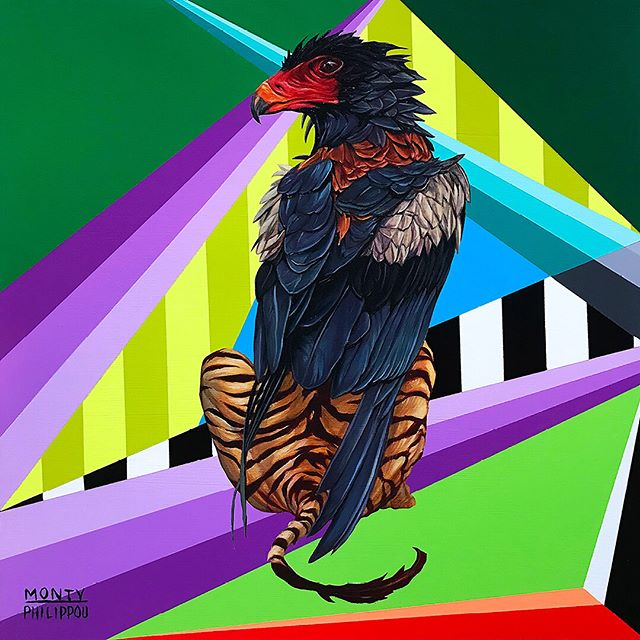BATELEUR GRIFFIN |  12 IN. X 12 IN X 1.25 IN., Oil paint and Aerosol on Wood Panel. SOLD. Here are the process pics from @montymontgomery as he blessed it with his geometric realness. . . . The other 3 Griffin paintings from this @kaleidoskullart series are still up @sparksgallery till Oct. 4th. Contact the gallery for any inquiries. . . . @montanacans_usa @gamblincolors @beautifulbizarremagazine @hifructosemag @juxtapozmag . . . #tonyphilippou #montymontgomery #sparksgallerysd #griffin #fantasy #design #beast #anthropomorphic #creature #bateleur #eagle #tiger #hybrid #geometric #painting #oil #aerosol #collaboration #kaleidoskull #sandiego #exhibition #process