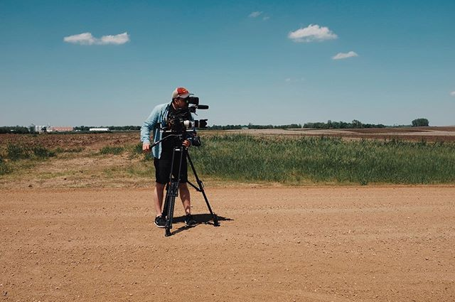 @visitinglights lining up the shot in South Dakota #fujiframez #setlife #southdakota #farm #dirtroad #canon @canonusaprovideo #c300mkii