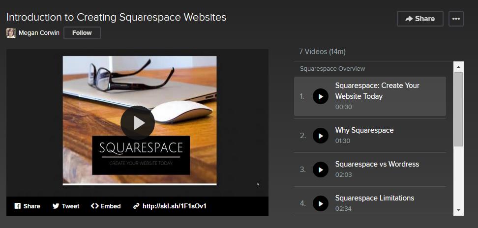 skillshare sqaurespace website