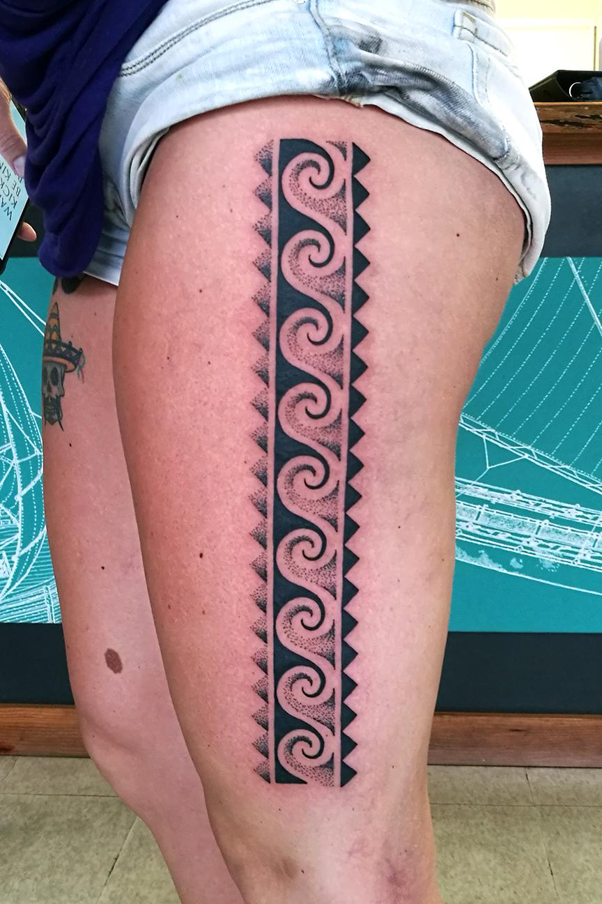 Modern Polynesian Leg Tattoo