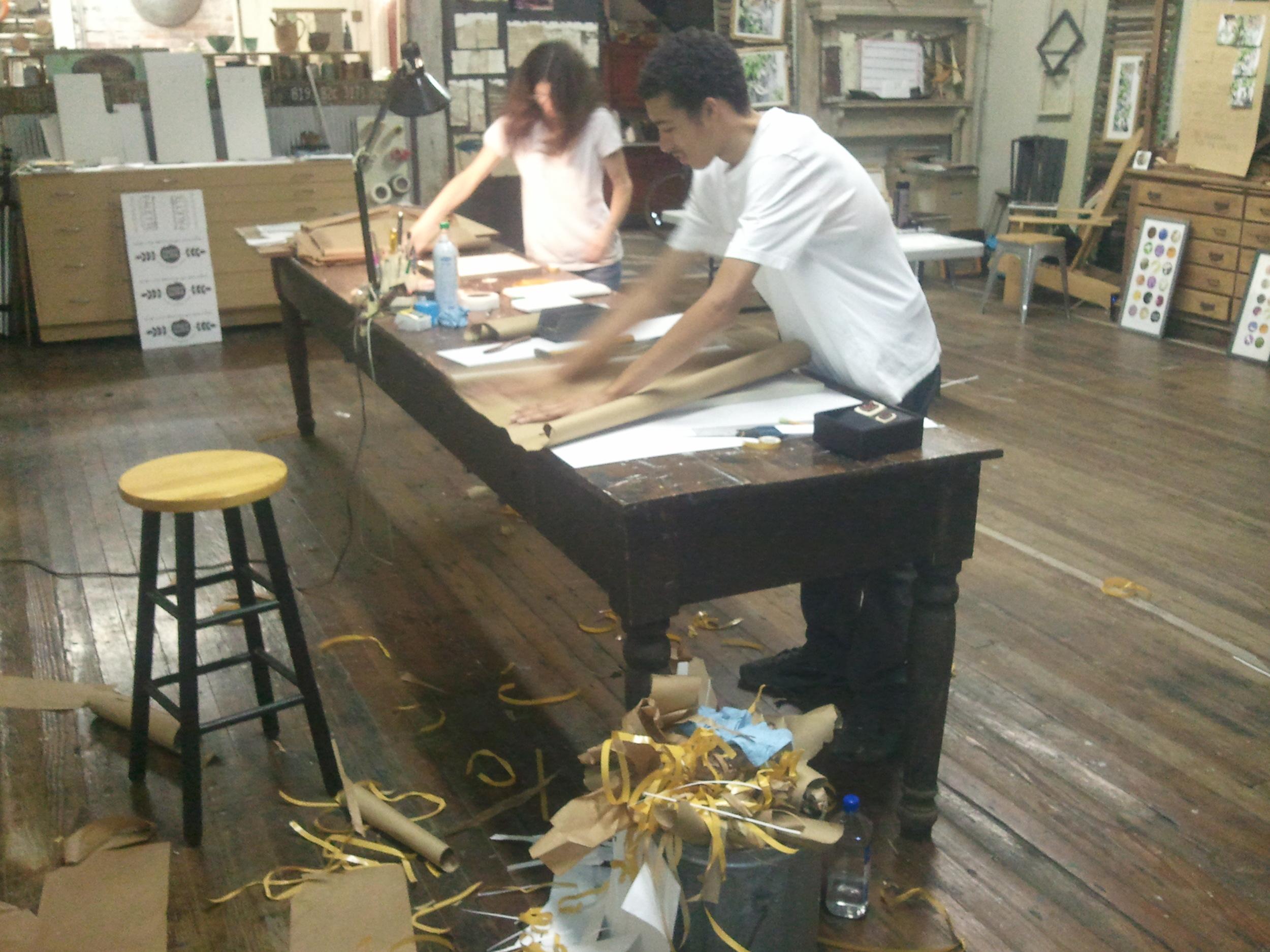 Kory and Leigh finishing up framing